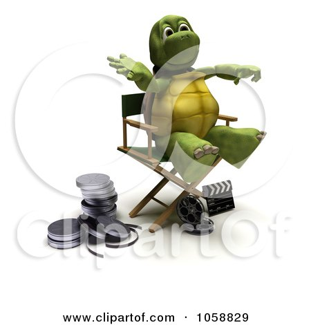 Royalty-Free CGI Clip Art Illustration of a 3d Tortoise Director In A Chair by KJ Pargeter