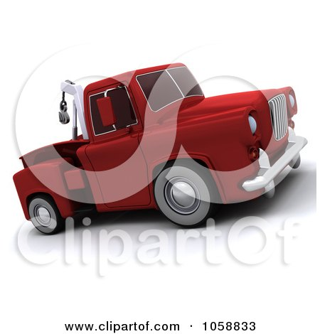 Royalty-Free CGI Clip Art Illustration of a 3d Retro Red Tow Truck by KJ Pargeter