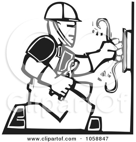 Royalty-Free Vector Clip Art Illustration of a Black And White Woodcut Styled Electrician by xunantunich