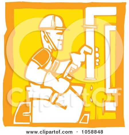 Royalty-Free Vector Clip Art Illustration of an Orange And Yellow Woodcut Styled Plumber by xunantunich