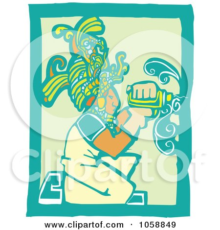 Royalty-Free Vector Clip Art Illustration of a Woodcut Styled Mayan Carpenter by xunantunich