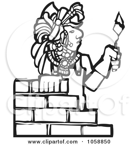 Royalty-Free Vector Clip Art Illustration of a Black And White Woodcut Styled Mayan Mason by xunantunich