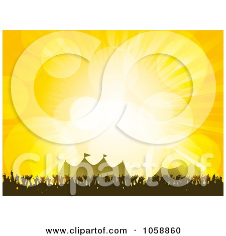 Royalty-Free Vector Clip Art Illustration of a Concert Crowd Of Hands Near Tents At A Festival, Over Yellow With Flares by elaineitalia