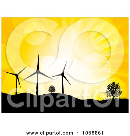 Royalty-Free Vector Clip Art Illustration of a Silhouetted Wind Turbines And Trees Atop Hills, Against A Yellow Sky With Flares by elaineitalia