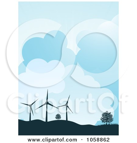 Royalty-Free Vector Clip Art Illustration of a Silhouetted Wind Turbines And Trees Atop Hills, Against A Cloudy Sky by elaineitalia