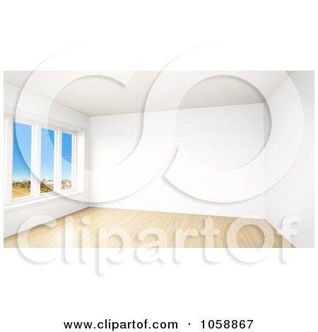 Royalty-Free CGI Clip Art Illustration of a 3d Modern Empty Room With Tall Windows And Wooden Floors - 2 by stockillustrations