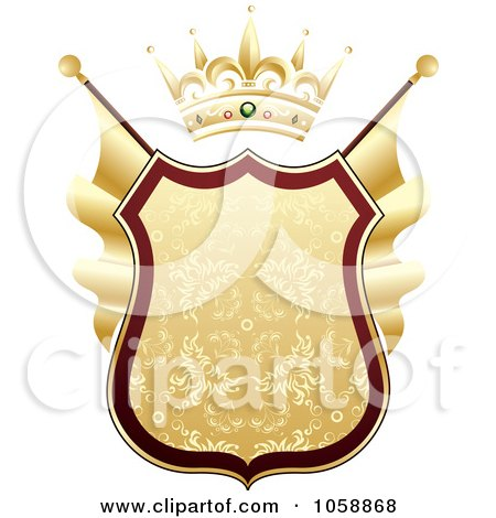 Royalty-Free Vector Clip Art Illustration of a Heraldic Gold Shield With A Crown by TA Images