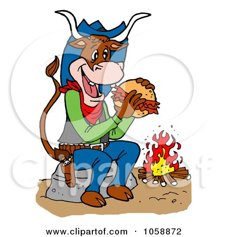 Royalty-Free Vector Clip Art Illustration of a Cow Eating A Pulled Pork Sandwich By A Fire by LaffToon