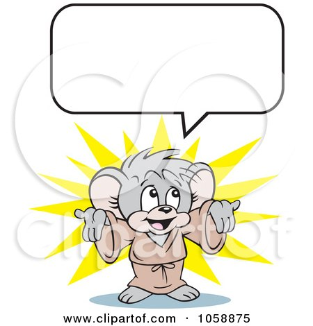 Royalty-Free Clip Art Illustration of a Micah Mouse With A Speech Balloon by Johnny Sajem