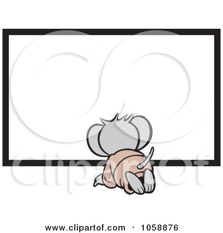 Royalty-Free Vector Clip Art Illustration of a Micah Mouse Kneeling Before A Blank Sign by Johnny Sajem