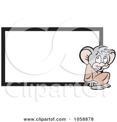 Royalty-Free Vector Clip Art Illustration of a Micah Mouse By A Blank Sign by Johnny Sajem