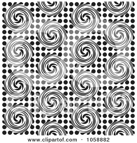 Royalty-Free Vector Clip Art Illustration of a Seamless Black And White Swirl Patterned Background by michaeltravers