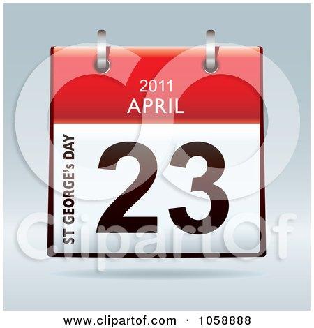 Royalty-Free Vector Clip Art Illustration of a 3d St George's Day April 23 2011 Flip Desk Calendar by michaeltravers