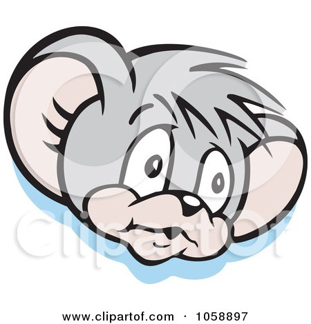 Royalty-Free Vector Clip Art Illustration of a Micah Mouse In Thought, Over Blue by Johnny Sajem