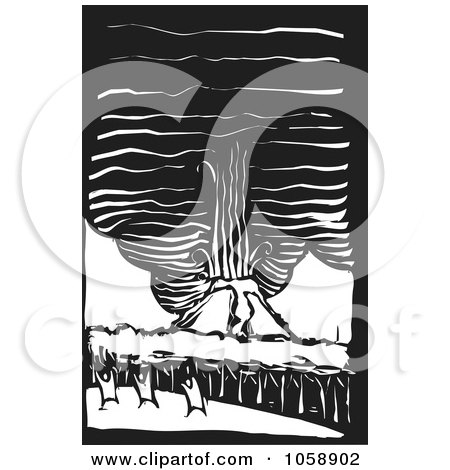 Royalty-Free Vector Clip Art Illustration of a Black And White Woodcut Styled Volcano With People by xunantunich