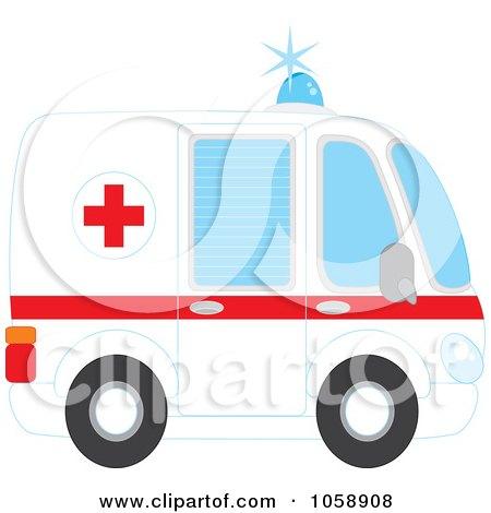 Royalty-Free Vector Clip Art Illustration of a Profiled Ambulance by Alex Bannykh