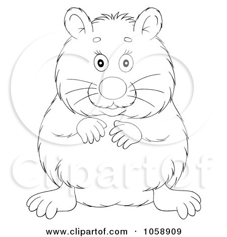 Royalty-Free Clip Art Illustration of an Outlined Chubby Hamster by Alex Bannykh