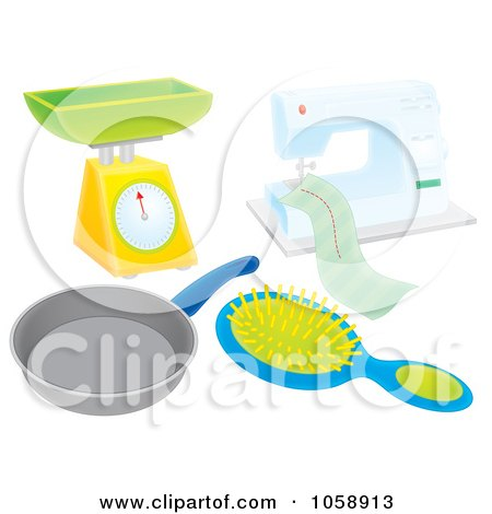Royalty-Free Clip Art Illustration of a Digital Collage Of Household Items by Alex Bannykh