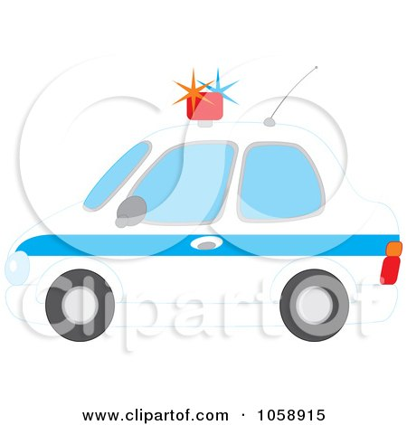 Royalty-Free Vector Clip Art Illustration of a Profiled View Of A Police Car by Alex Bannykh