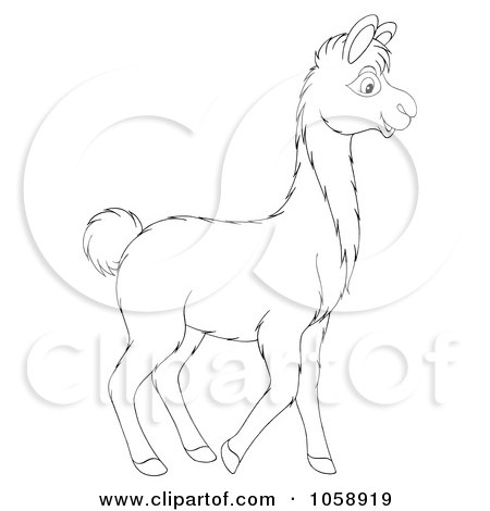Royalty-Free Clip Art Illustration of an Outlined Llama by Alex Bannykh
