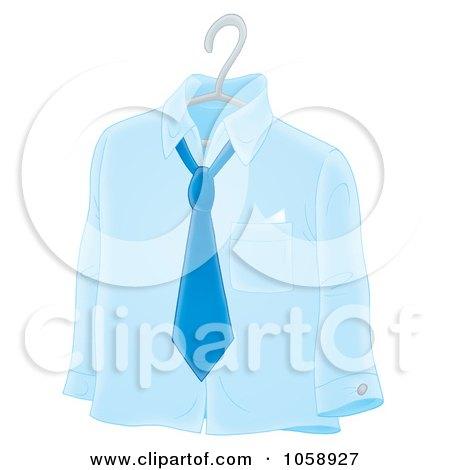 Royalty-Free Clip Art Illustration of a Blue Shirt And Tie On A Hanger by Alex Bannykh