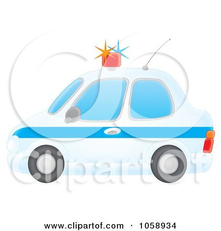 Royalty-Free Clip Art Illustration of an Airbrushed Profiled View Of A Police Car by Alex Bannykh