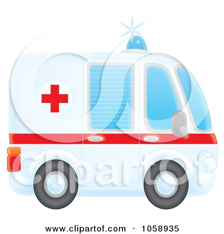 Royalty-Free Clip Art Illustration of an Airbrushed Profiled Ambulance by Alex Bannykh