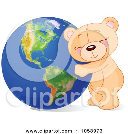 Royalty-Free Vector Clip Art Illustration of a Teddy Bear Hugging Earth by Pushkin