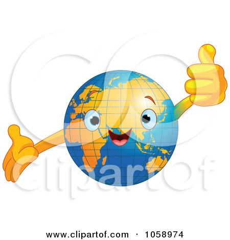 Royalty-Free Vector Clip Art Illustration of a Happy Earth Holding A Thumb Up by Pushkin