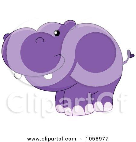 Royalty-Free Vector Clip Art Illustration of a Chubby Happy Hippo by yayayoyo