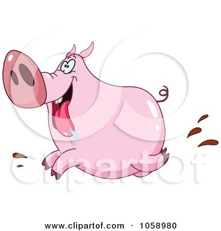 Royalty-Free Vector Clip Art Illustration of a Happy Running Pig by yayayoyo