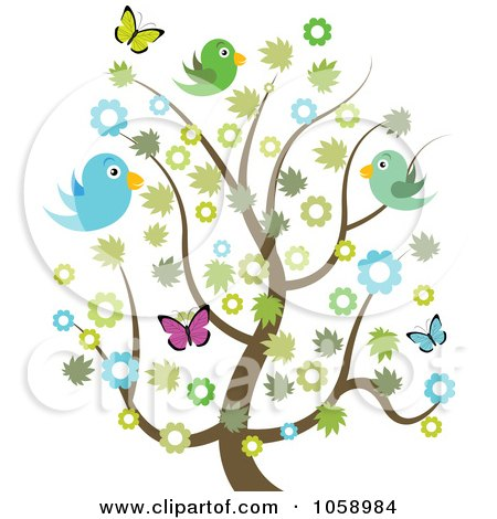 Spring Tree With Blossoms Butterflies And Birds 1058984