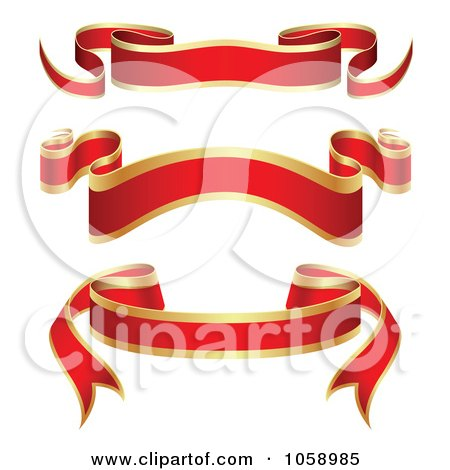 Royalty-Free Vector Clip Art Illustration of a Digital Collage Of Ornate Blank Red And Gold Ribbon Banners by vectorace