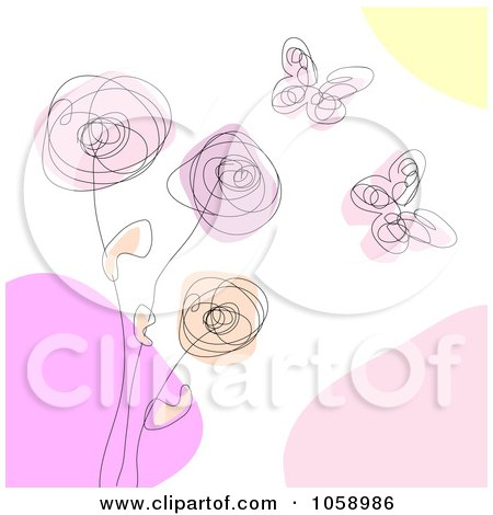 Royalty-Free Vector Clip Art Illustration of a Scribble Design Of Butterflies And Flowers by vectorace