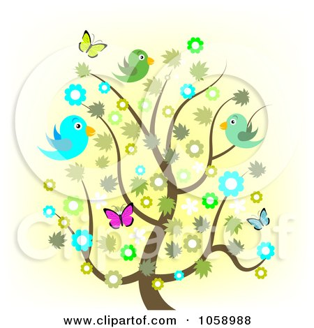 Spring Tree With Flowers Butterflies And Birds 1058988