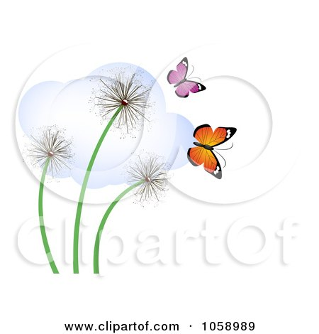 Royalty-Free Vector Clip Art Illustration of Three Dandelions With Butterflies And A Cloud by vectorace