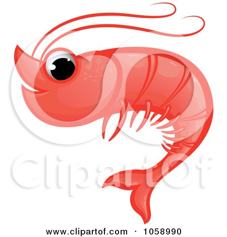 Royalty-Free Vector Clip Art Illustration of a Cute Red Shrimp by Paulo Resende