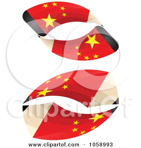 Royalty-Free Vector Clip Art Illustration of a Digital Collage Of 3d Chinese Flag Pencils In A Loop by Andrei Marincas
