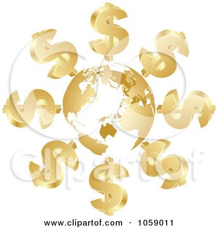 Royalty-Free Vector Clip Art Illustration of 3d Golden Dollar Symbols Circling A Globe by Andrei Marincas