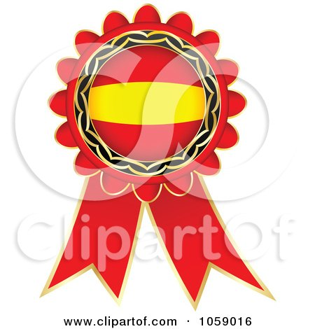 Royalty-Free Vector Clip Art Illustration of a Red Spain Flag Ribbon Label by Andrei Marincas