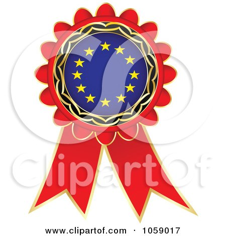 Royalty-Free Vector Clip Art Illustration of a Red European Flag Ribbon Label by Andrei Marincas