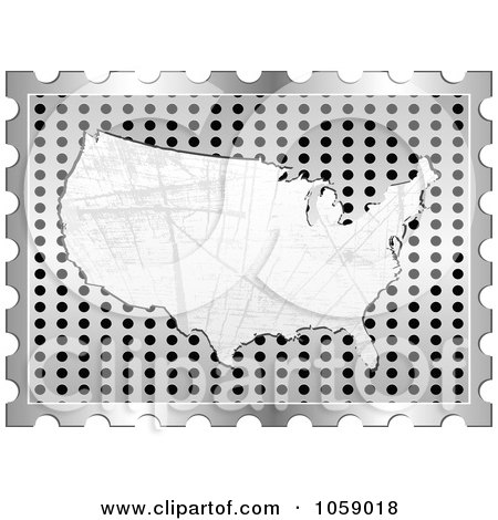 Royalty-Free Vector Clip Art Illustration of a Scratched American Map On A Silver Grate by Andrei Marincas
