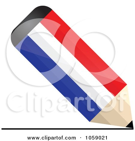 Royalty-Free Vector Clip Art Illustration of a 3d Holland Flag Pencil Drawing A Line by Andrei Marincas