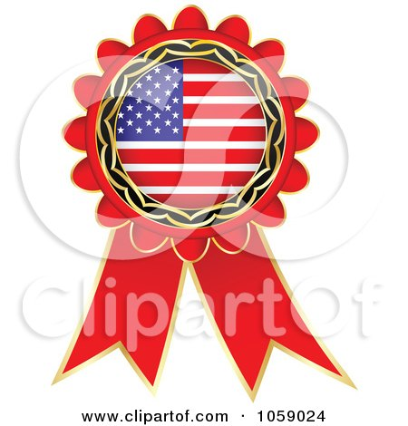 Royalty-Free Vector Clip Art Illustration of a Red American Flag Ribbon Label by Andrei Marincas
