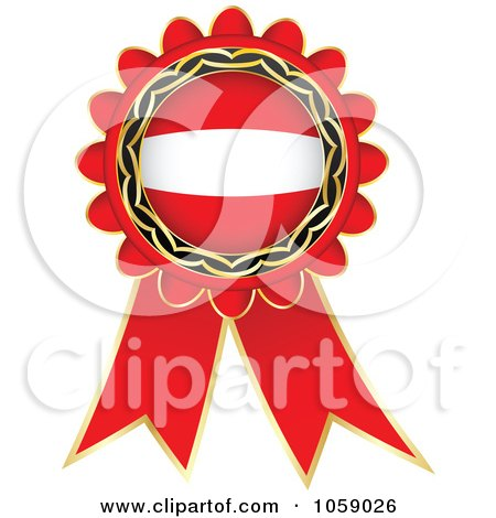 Royalty-Free Vector Clip Art Illustration of a Red Austria Flag Ribbon Label by Andrei Marincas