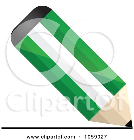 Royalty-Free Vector Clip Art Illustration of a 3d Nigeria Flag Pencil Drawing A Line by Andrei Marincas