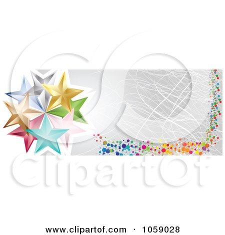 Royalty-Free Vector Clip Art Illustration of a Scratched Silver Banner With Dots And Stars by Andrei Marincas