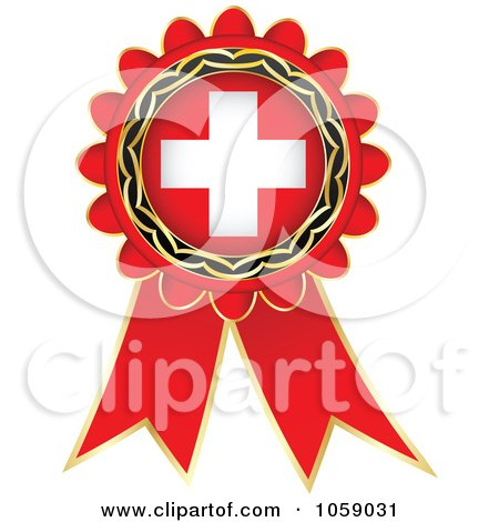 Royalty-Free Vector Clip Art Illustration of a Red Swiss Flag Ribbon Label by Andrei Marincas