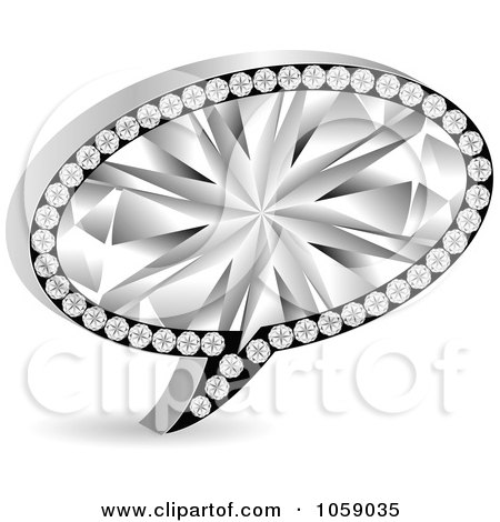 Royalty-Free Vector Clip Art Illustration of a 3d Silver And Diamond Chat Bubble by Andrei Marincas