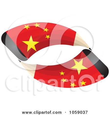 Royalty-Free Vector Clip Art Illustration of 3d Chinese Flag Pencils In A Loop - 1 by Andrei Marincas
